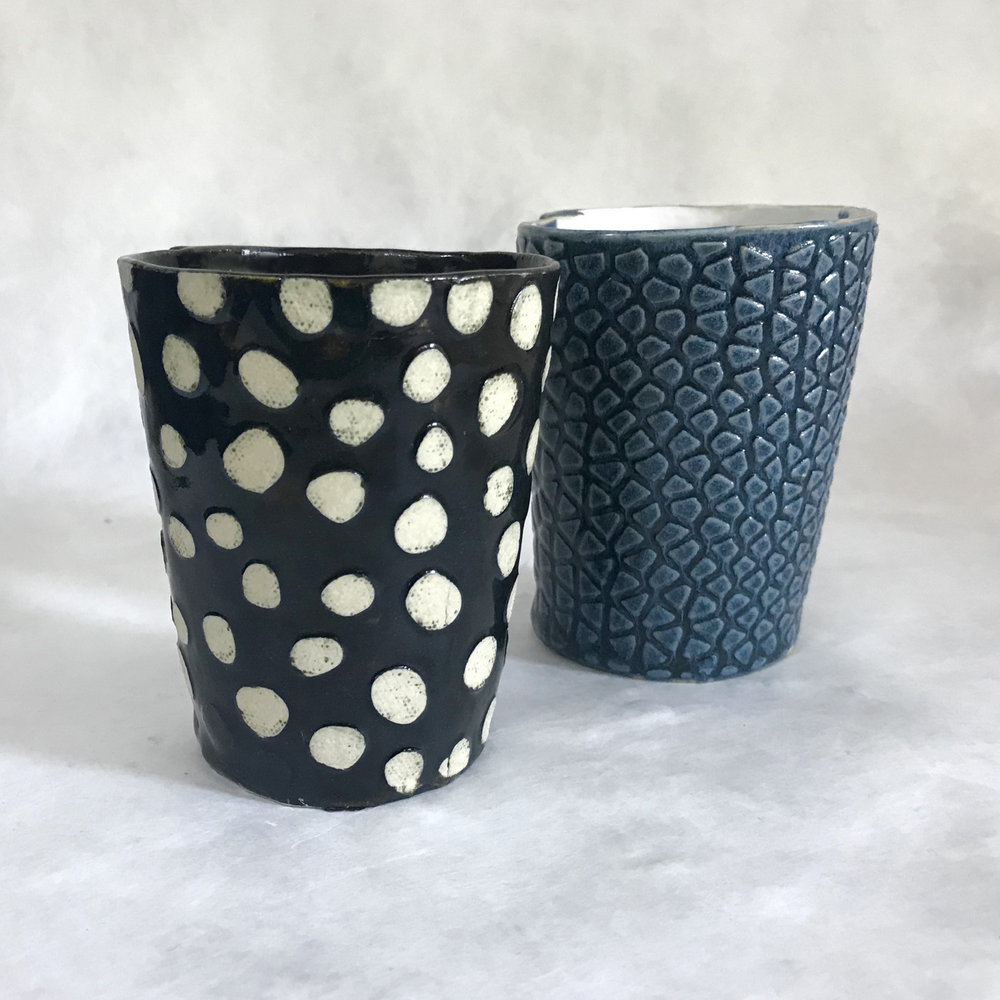 Glazed & fired cups.