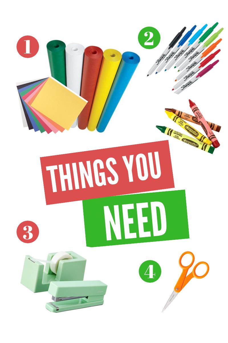 1. Butcher Paper, Construction Paper, 2. Crayons, Colored pencils, Markers, 3. Tape, Stapler, 4. Scissors