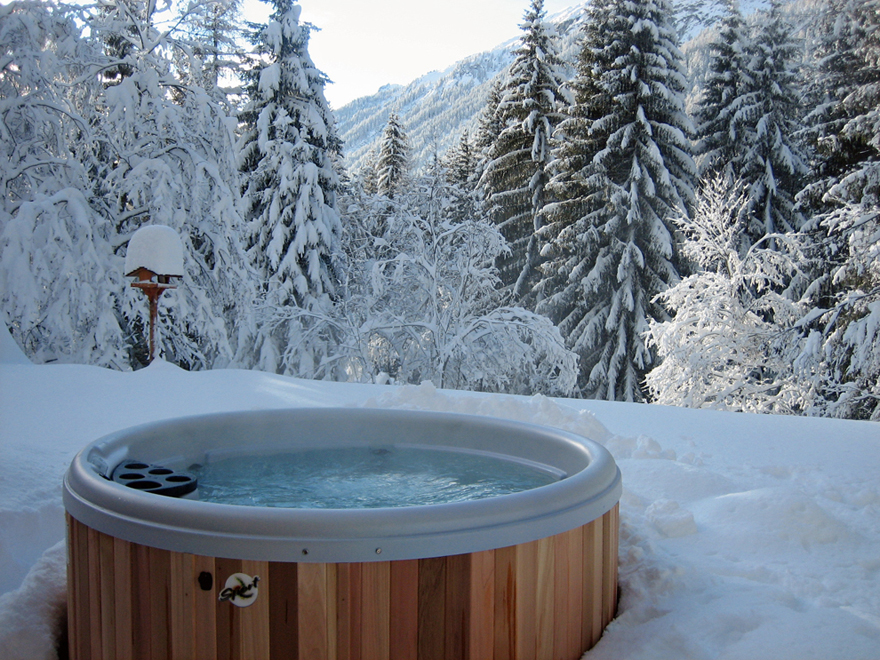 - Ski by day, hot tub by night.