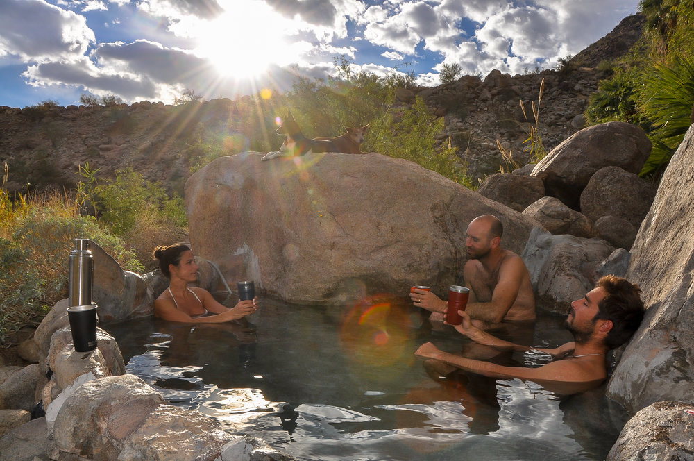 Hot springs soaks after desert hikes