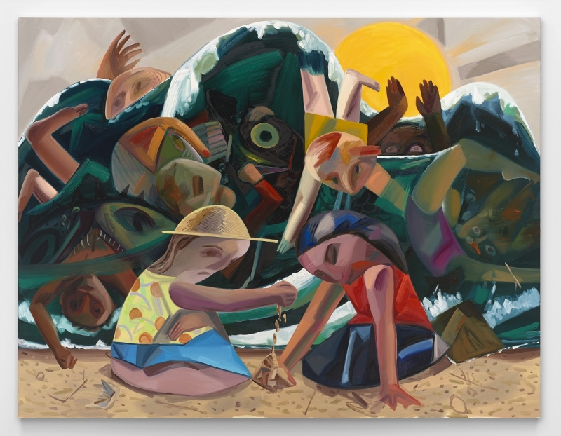 Dana Schutz,  Big Wave , 2016. Oil on canvas, 120 × 156 inches (304.8 × 396.2 cm). The Barbara Lee Collection of Art by Women. Courtesy the artist, Petzel, New York, and Contemporary Fine Arts, Berlin. Photo by Matthias Kolb. © Dana Schutz