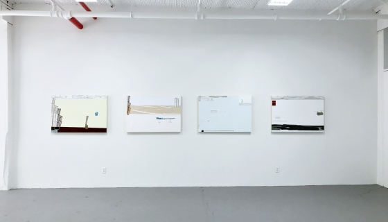 Installation shot with works from Frances Barth's Com series.