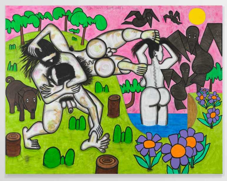"""Any Day,"" 2017, Carroll Dunham, Urethane, acrylic and pencil on linen, 78 x 100 inches (198.1 x 254 cm)83 3/4 x 105 x 5/8 inches (212.7 x 266.7 x 1.6 cm) framed  (© Carroll Dunham, Courtesy Gladstone Gallery, New York and Brussels. Photography by David Regen)"