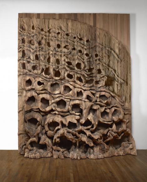 """Oziksien,"" 2016 by Ursula von Rydingsvard, Cedar, 145 x 123 x 30 inches (368.3 x 312.4 x 76.2 cm) at Galerie Lelong & Co., New York  (Courtesy of the artist & Galerie Lelong & Co., New York)"