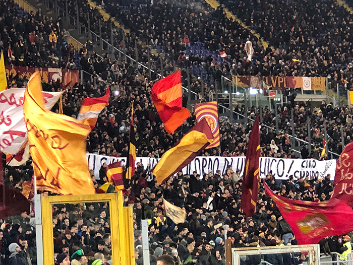 I went to an AS Roma soccer game, and I could never have imagined the enthusiasm of the fans. Those very big flags were flying the entire game.