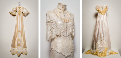 Christening and wedding dresses (2016) exhibited at the Palm Spring Museum in 2017 for the artist's retrospective 'Journey of the Heart'