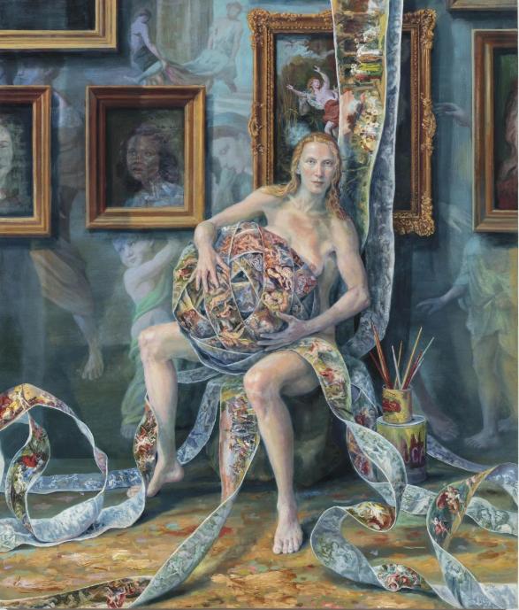 Julie Heffernan, Self-Portrait with Lock , 2018 © Courtesy the artist and  P·P·O·W , New York.