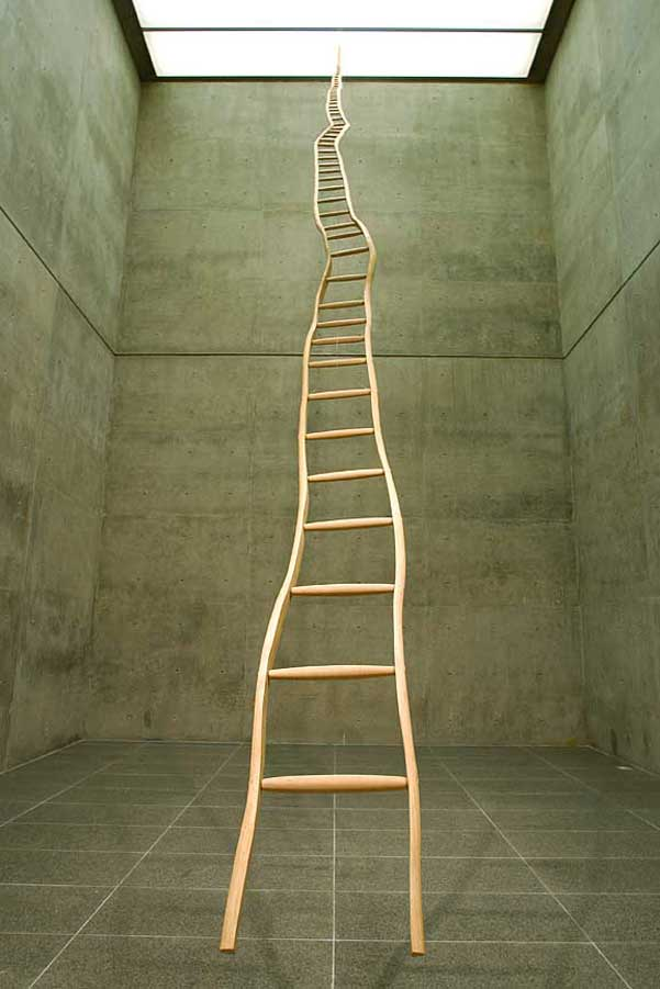 Martin Puryear,  Ladder for Booker T. Washington  (1996). Installation view at the Modern Art Museum of Fort Worth, Texas. Photo by David Woo, ©David Woo.