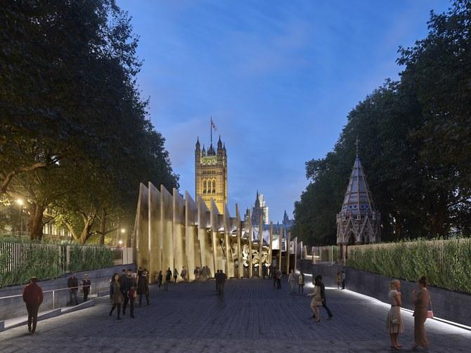 A rendering shows the David Adjaye-designed, UK Holocaust Memorial. Photo: Courtesy of the UK Holocaust Memorial