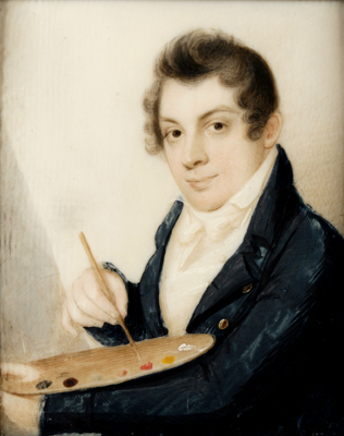 Samuel F. B. Morse ,  Self-Portrait , c. 1809 Watercolor on ivory, 3 ¼ x 2 ⅝ in.  National Academy of Design, New York Gift of Samuel P. Avery, John G. Brown, Thomas B. Clarke, Lockwood de Forest, Daniel Huntington, James C. Nicoll, and Harry W. Watrous, 1900.