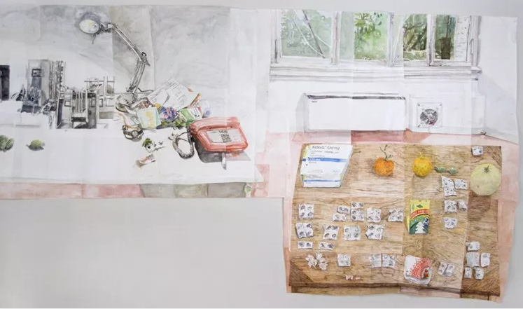 "Dawn Clements, NA, ""Three Tables in Rome,"" 2017, Watercolor on paper, 85 x 248.5 inches"