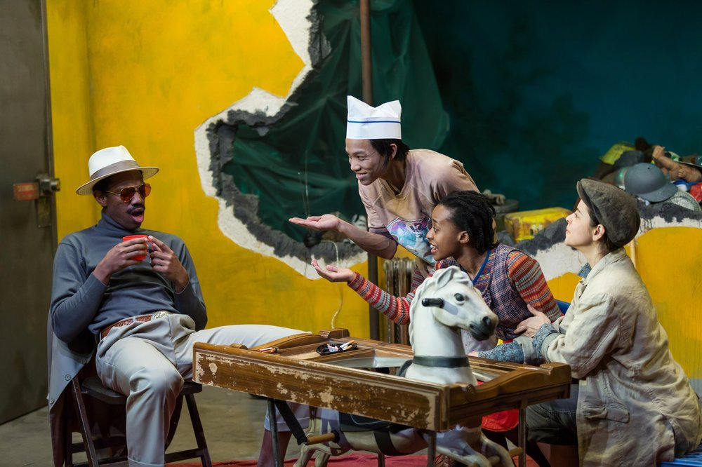 as Cigarette Man in   Frontieres Sans Frontieres  (Bushwick Starr 2017) [also pictured (L-R): Tony Aiden Vo, Mirirai Sithole, and Emma Ramos]