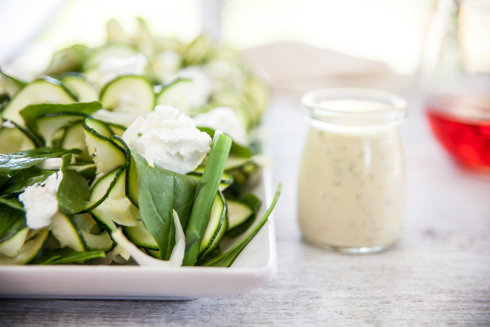 ZUCHINI, ASPARAGUS & BABY SPINACH BUFFALO CHEESE SALAD WITH CITRUS DILL DRESSING -
