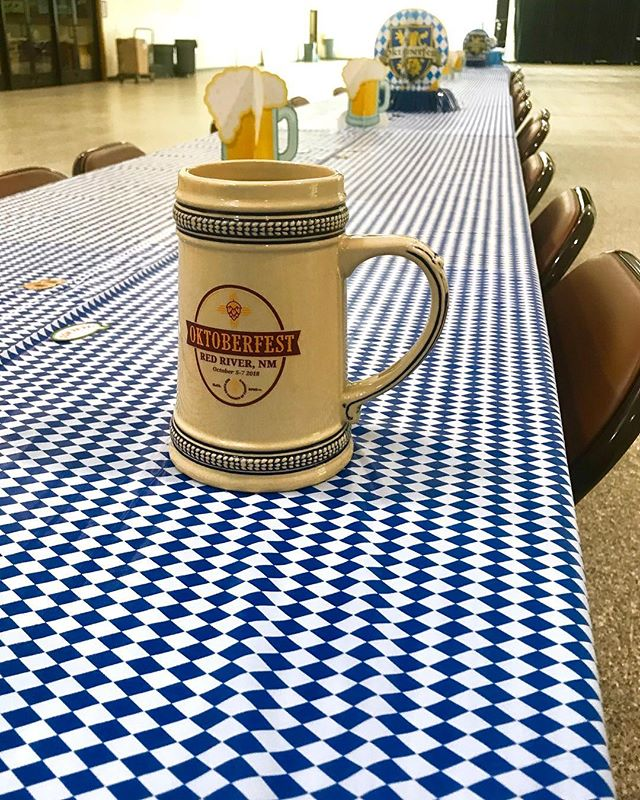 The table is set and the steins are ready for this weekend's Oktoberfest in Red River, New Mexico! Be sure to visit our indoor Biergarten and try some of our new breweries inside the Conference Center on Friday and Saturday from 10-4 and Sunday from 11-6!