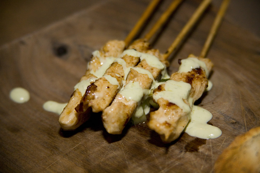 Chicken Skewers with Poblano Cream