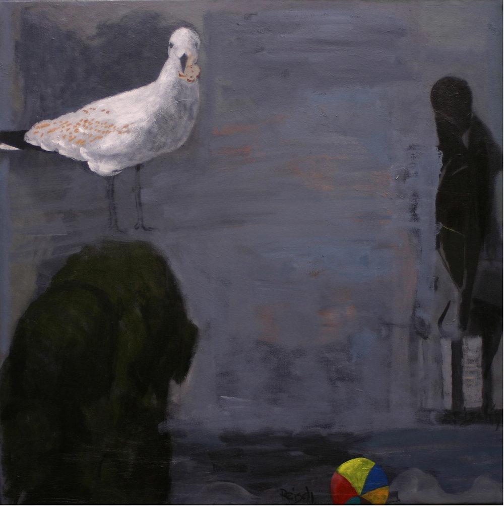 Contemplating sculpture - oil on canvas- 92x92cm