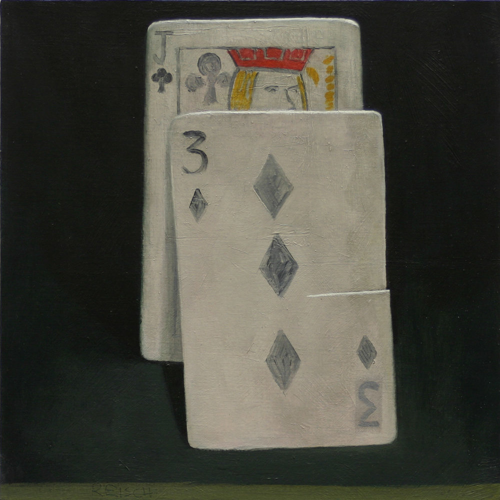 Jack of Clubs  -oil on primed paper 30x30cm