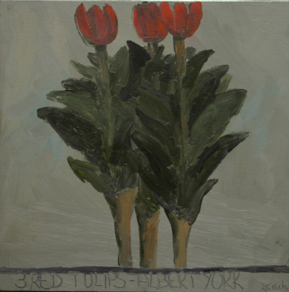 Homage to Albert York  -oil on primed paper - 30x30cm