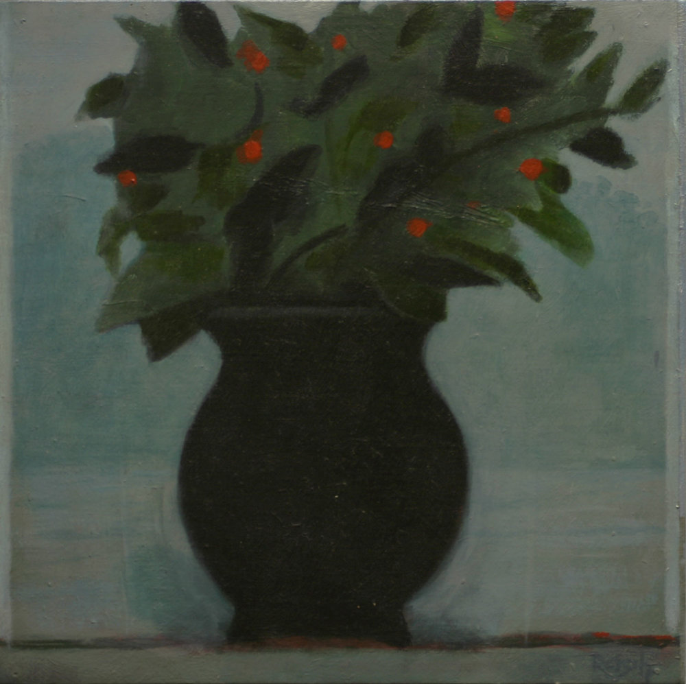 Black vase  - oil on primed paper-30x30cm