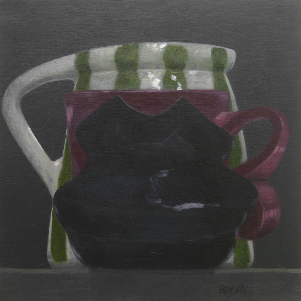 Still life with green striped jug  - oil on primed paper-30x30cm