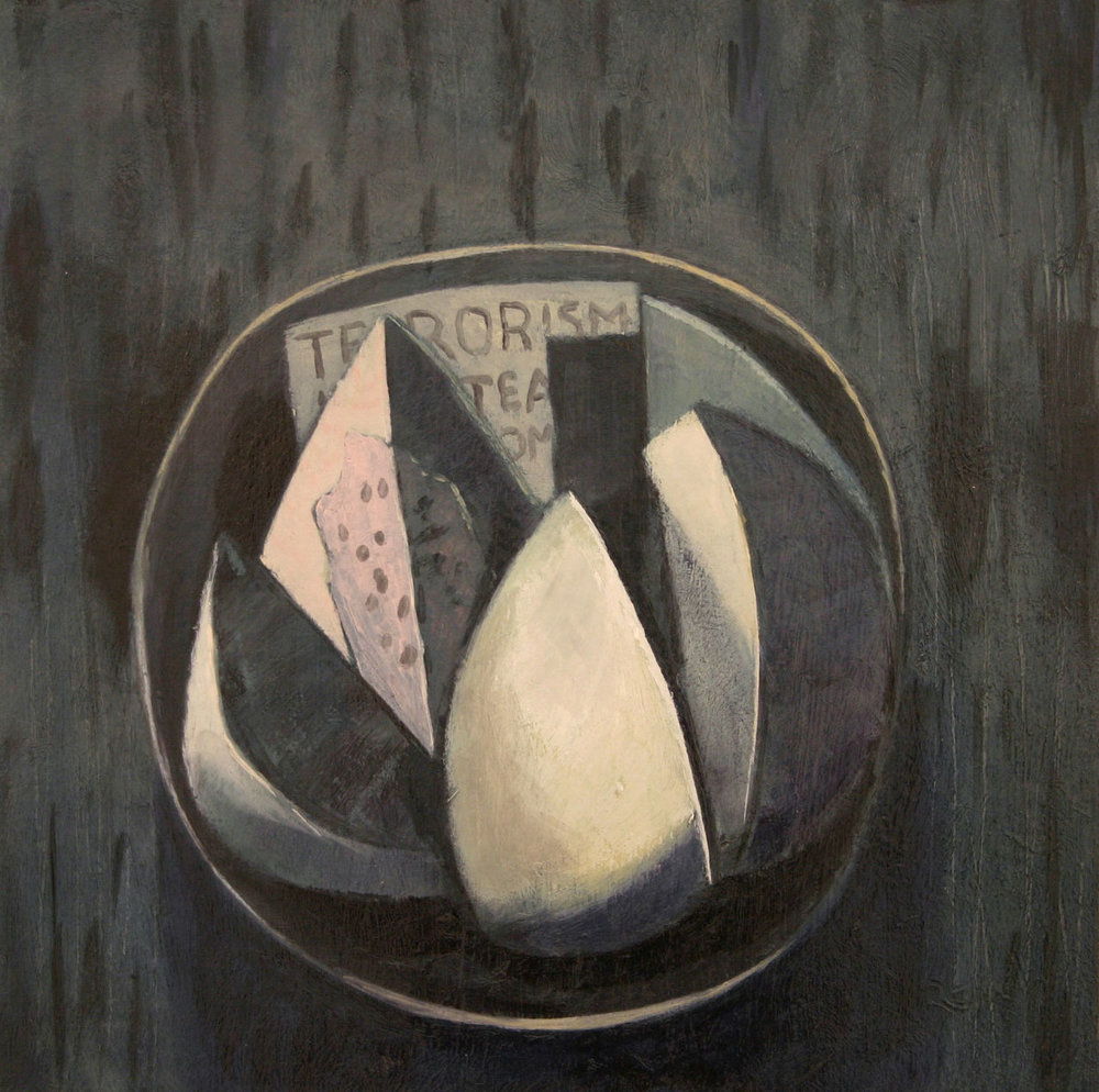 Still life with note   - oil on primed paper 30x30cm