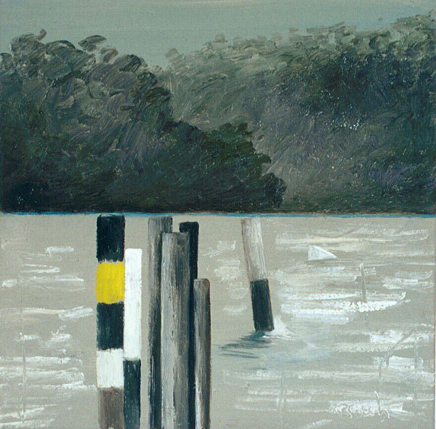 River posts -  2004 oil on canvas 30x30cm