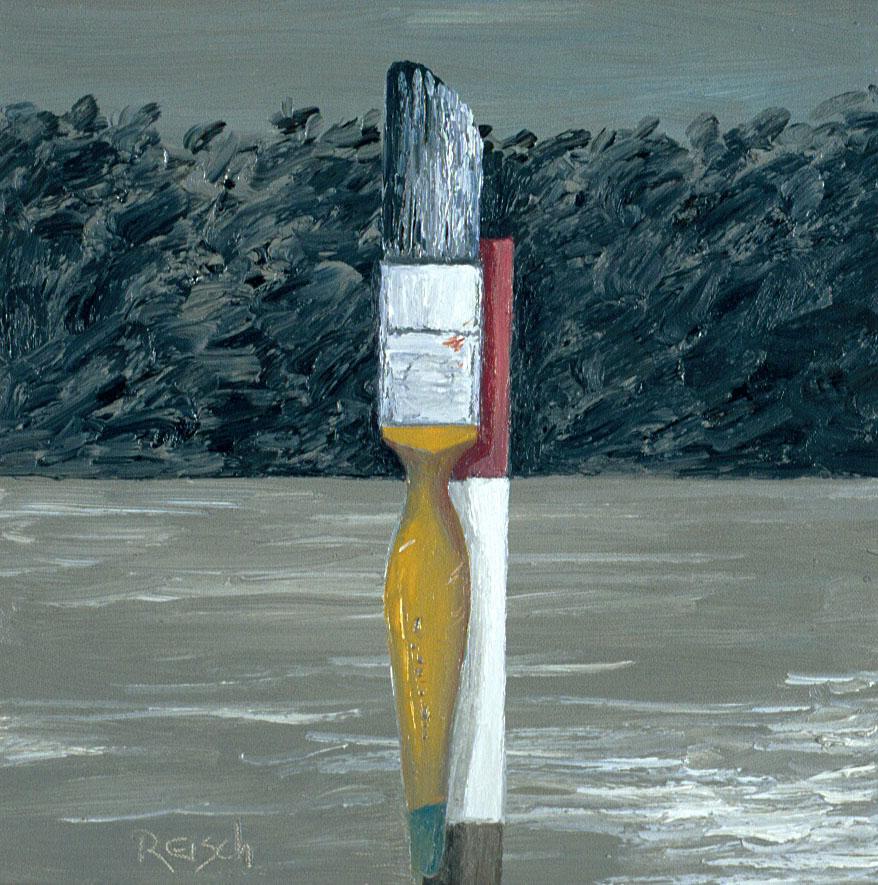 Yellow brush -  2002 pil on canvas 30x30cm