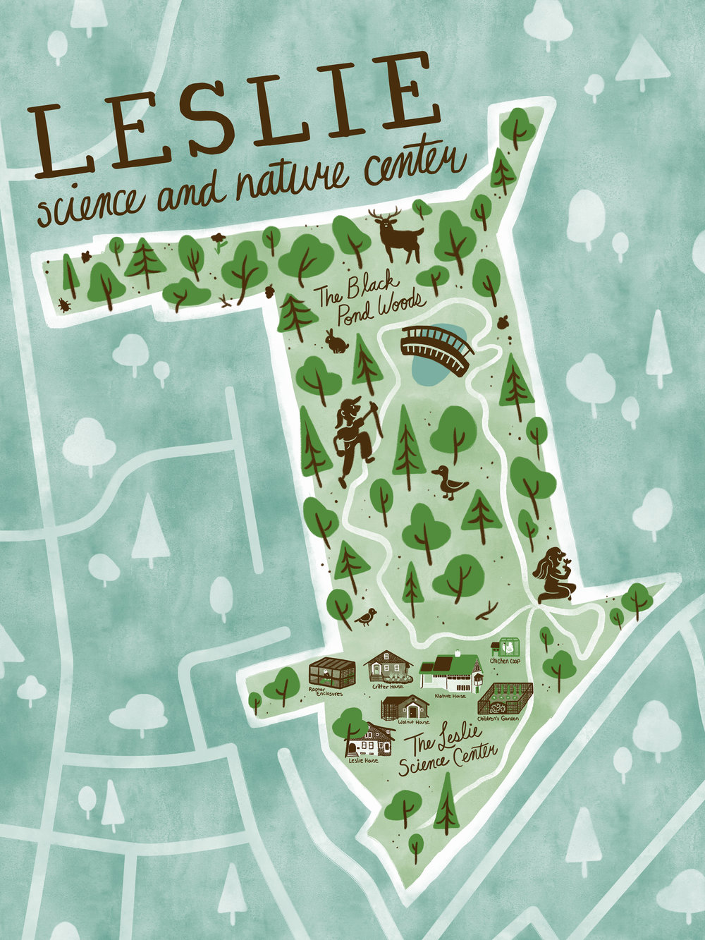 Map of the Leslie Science and Nature Center