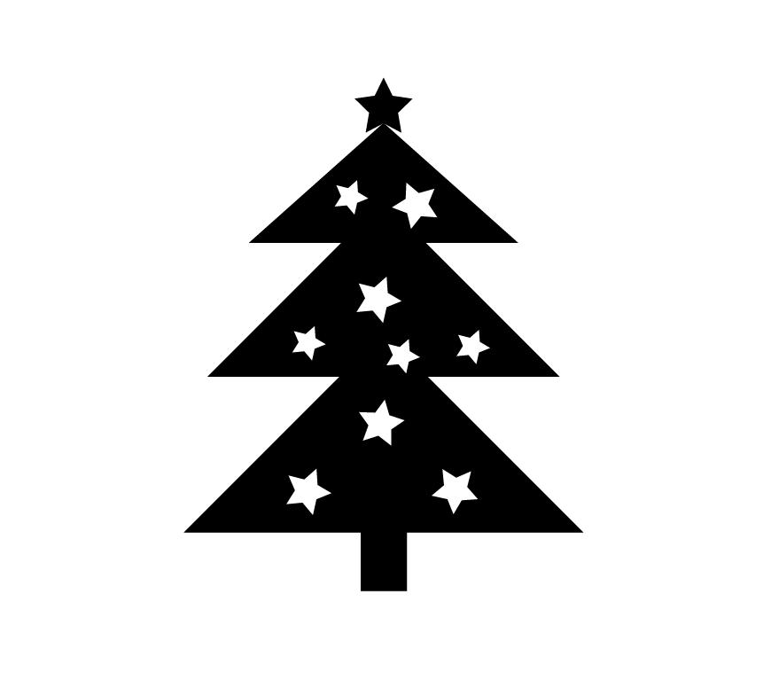 Christmas tree with stars silhouette