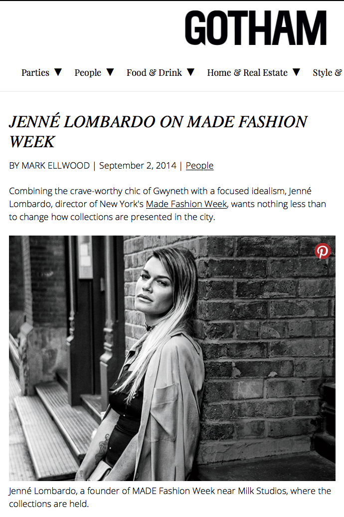 Gotham Magazine - Jenne Lombardo - MADE Fashion Week