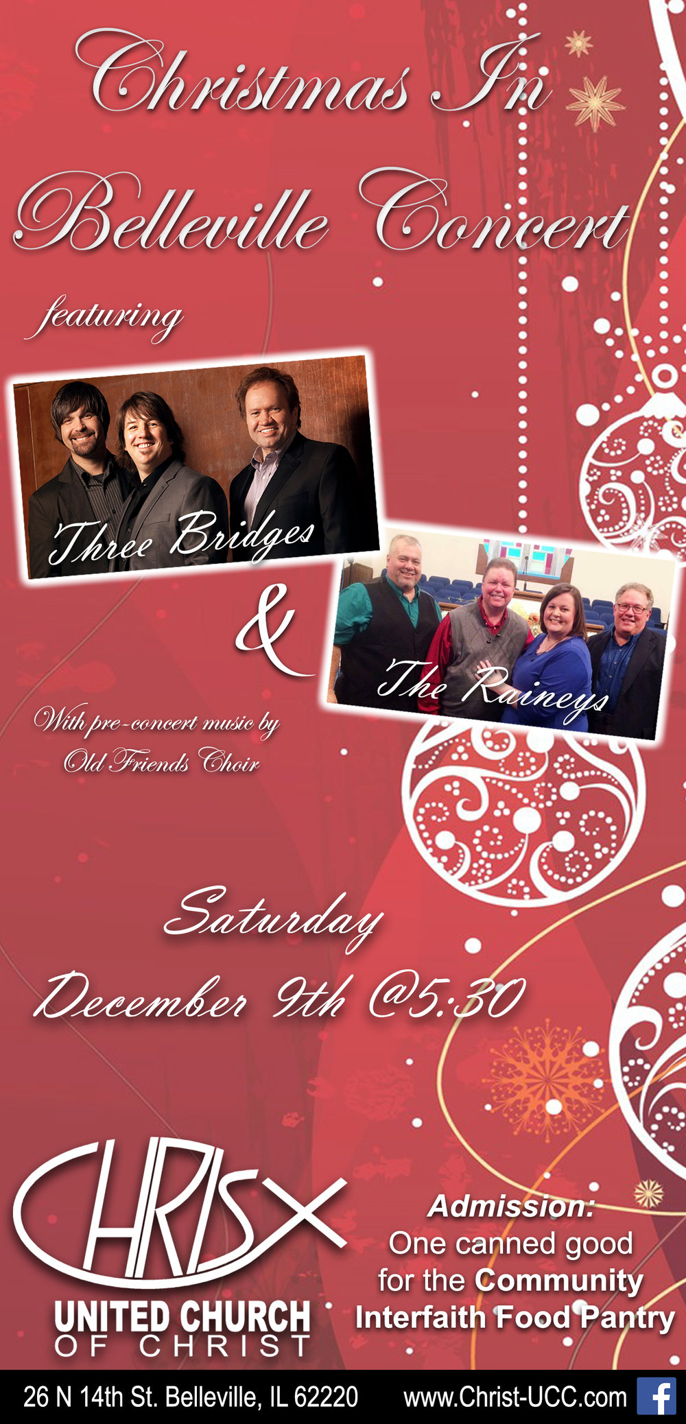Featuring Three Bridges & The Raineys with opening music by Old Friends Choir.  Admission: one Can food item for the Community Interfaith Food Pantry.