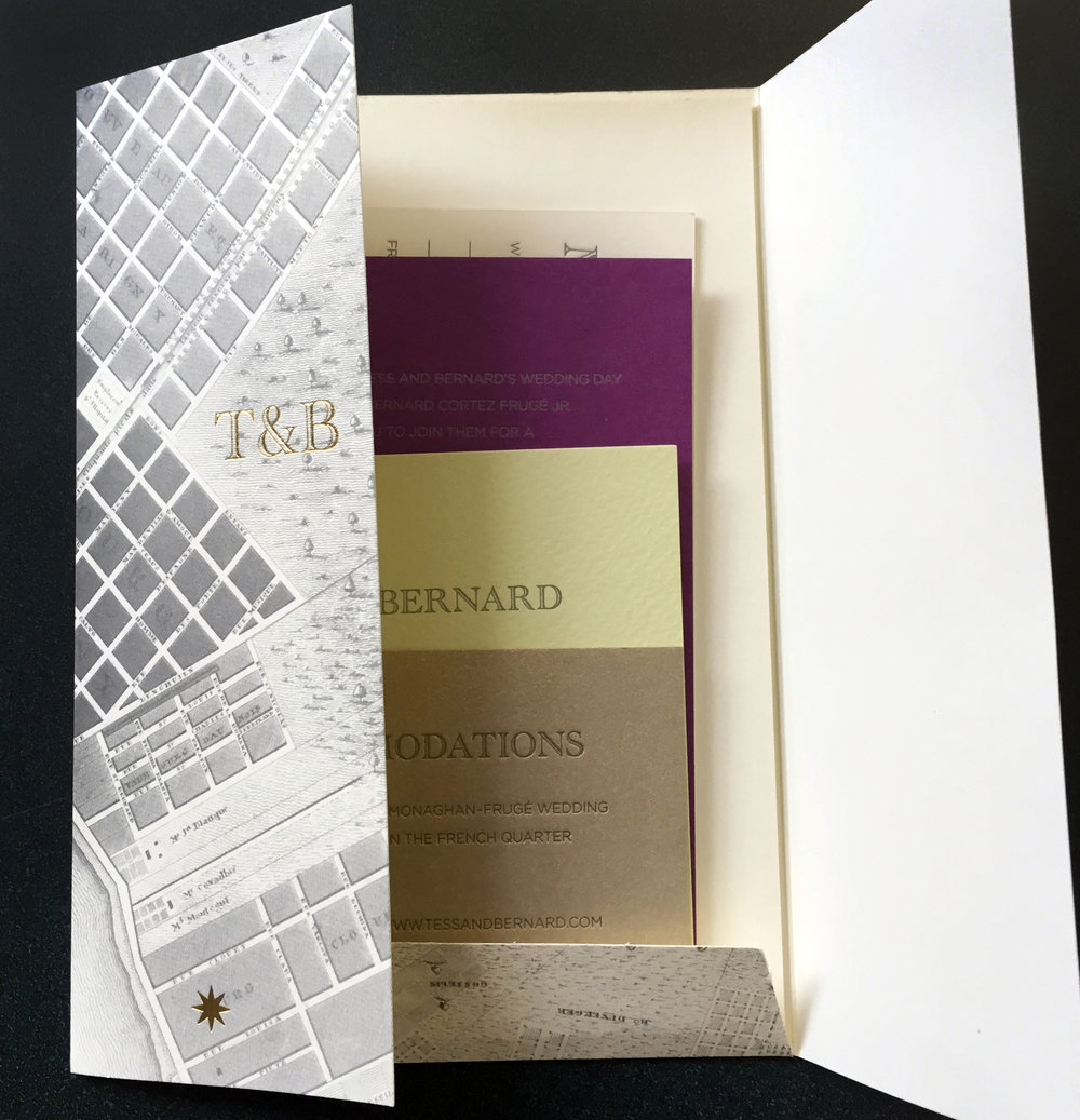 Offset printed, letterpressed foil stamped diecut
