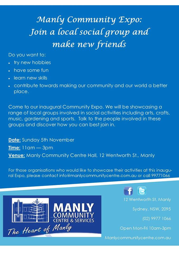 Manly Community Expo at Community Northern Beaches, 12 Wentworth Street, Manly NSW 2095