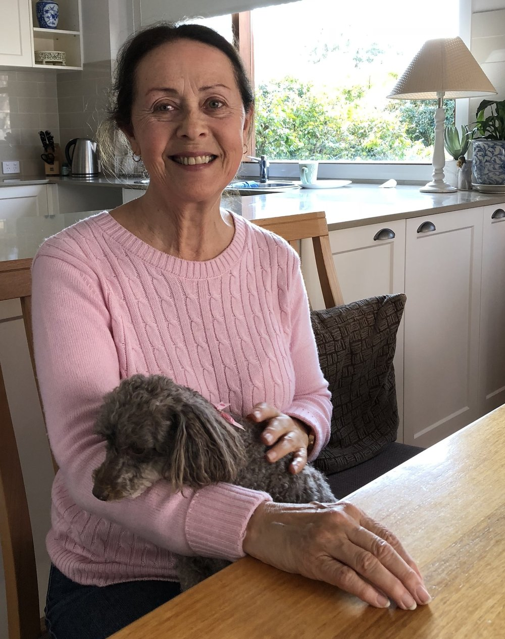 Lorraine with poodle, Lucy
