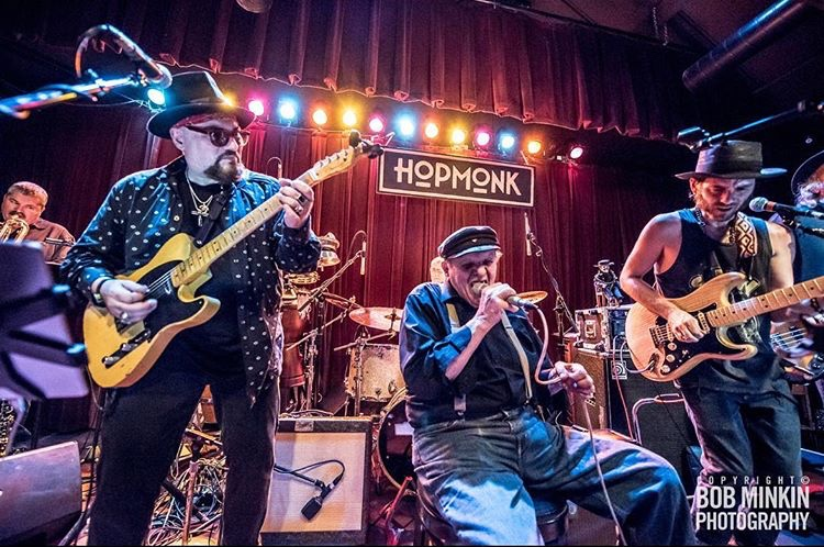 40T on stage with Jimmy Vivino, Nick Gravenites, and the Louisiana Love Act