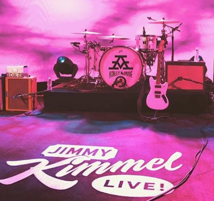 40T onstage with Ashley McBryde on  Jimmy Kimmel Live!