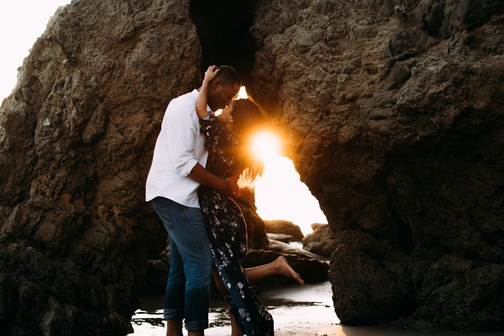 Golden Hour Malibu Beach Couple Portraits