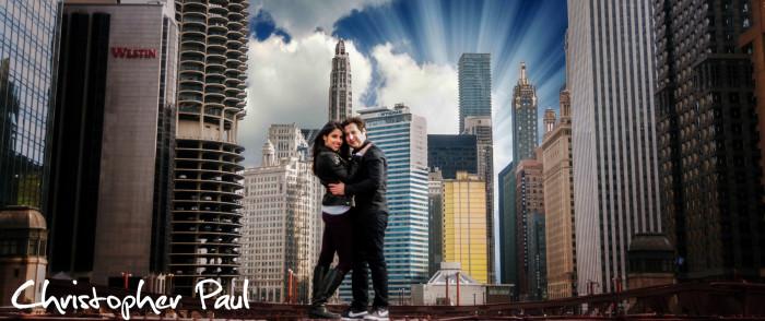 epic engagement photo chicago