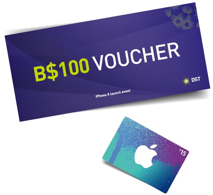 $100 Voucher & US$15 iTunes Gift Card