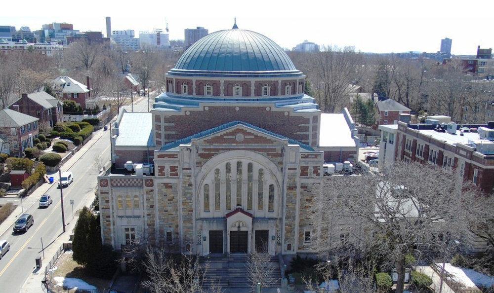 Temple Ohabei Shalom landmark building in Brookline, MA
