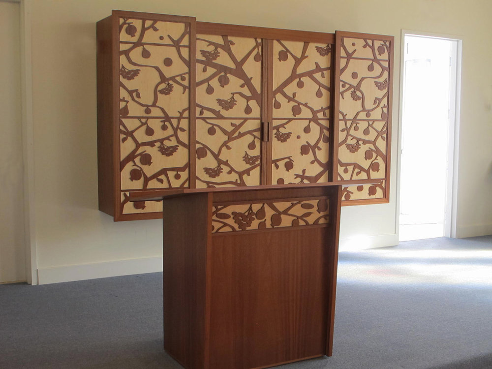 Torah Ark , close up of matching Torah Reading Table
