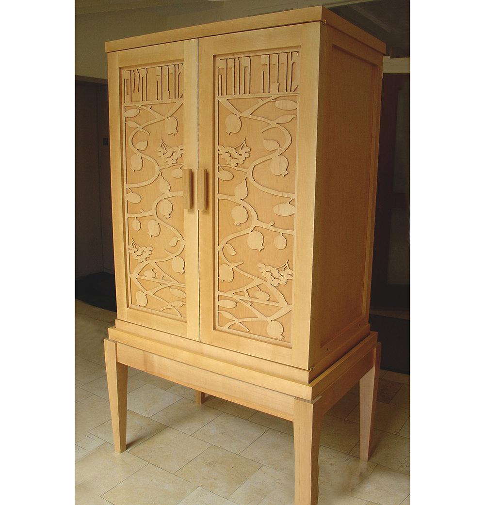 Maple Two Torah Ark on Four Leg Base