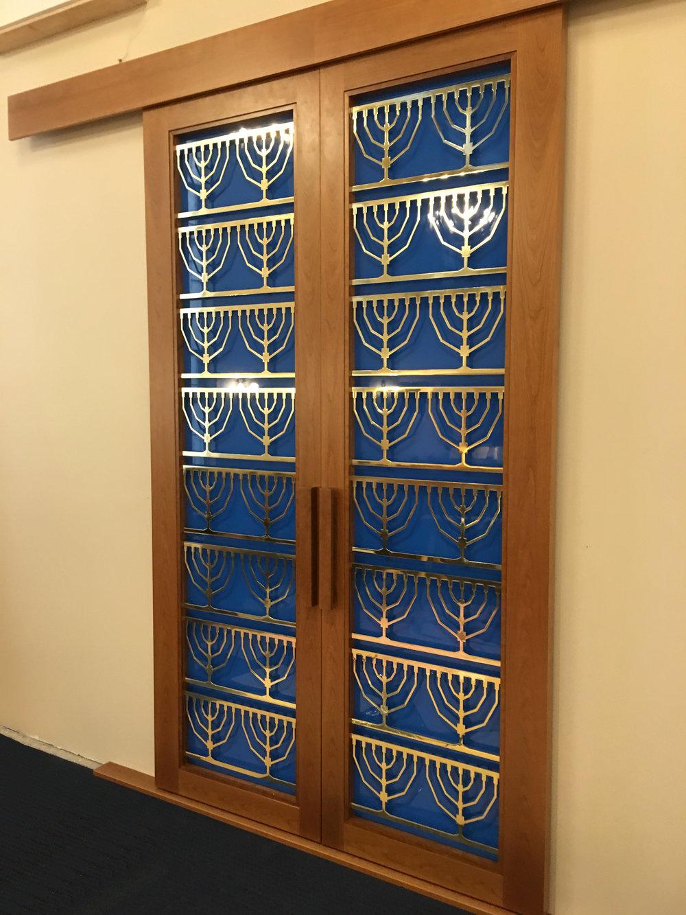 Blue and Gold Torah Ark Doors