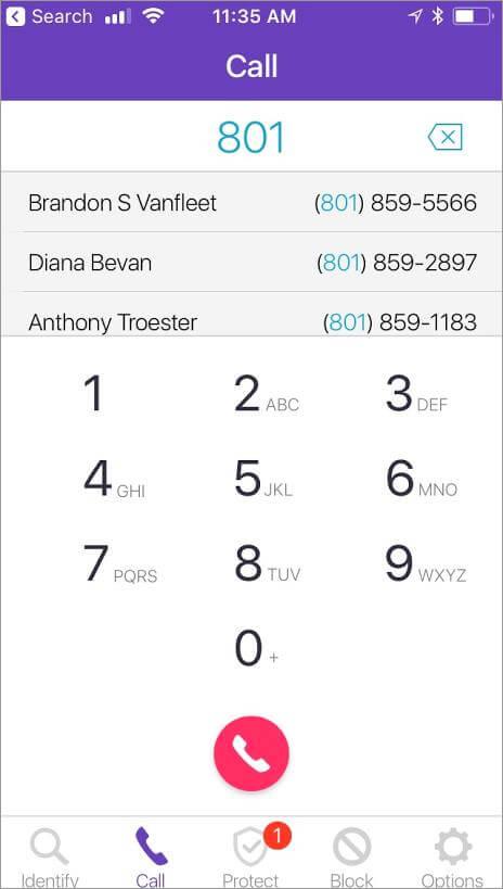 Original HIYA app Call screen