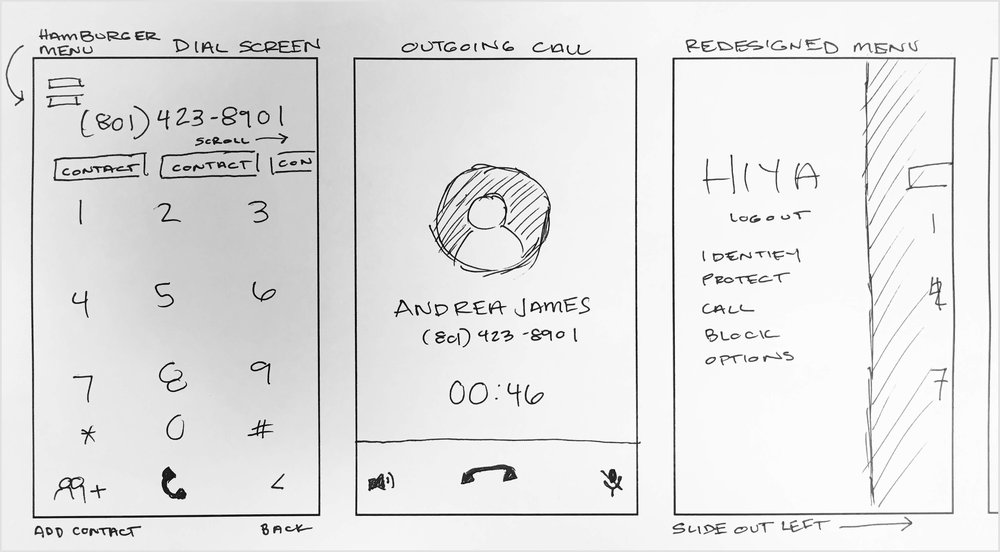 Sketch concepts for HIYA app dial screen redesign.