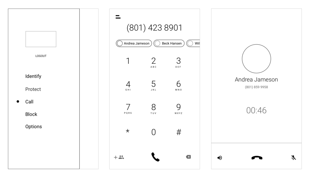 Lo-fi mockups of the Dial screen user interface design