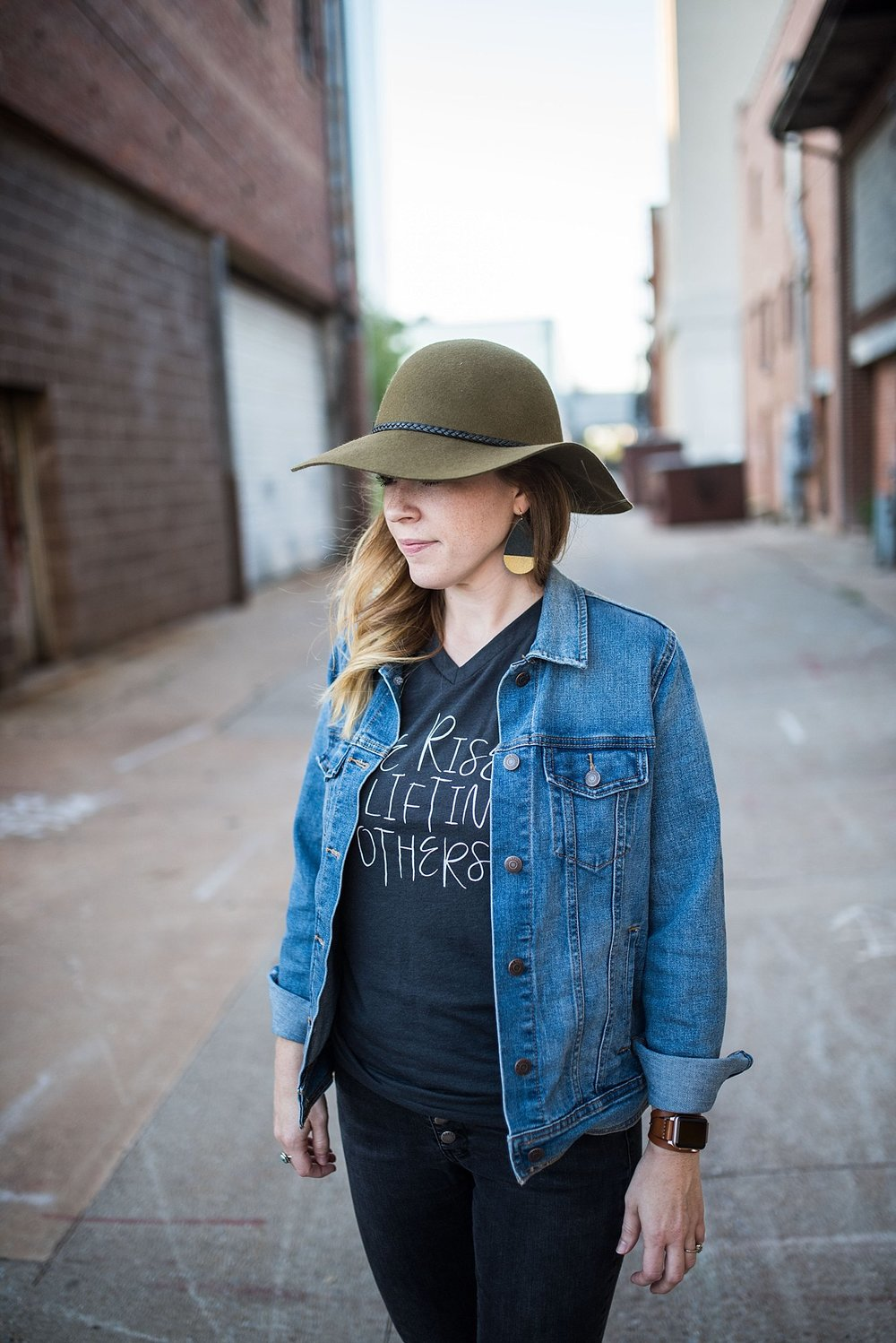 Ramble Apparel  || We rise by lifting others. || Hat:  Gigi Pip , Jacket:  Old Navy , Earrings:  m wood designs