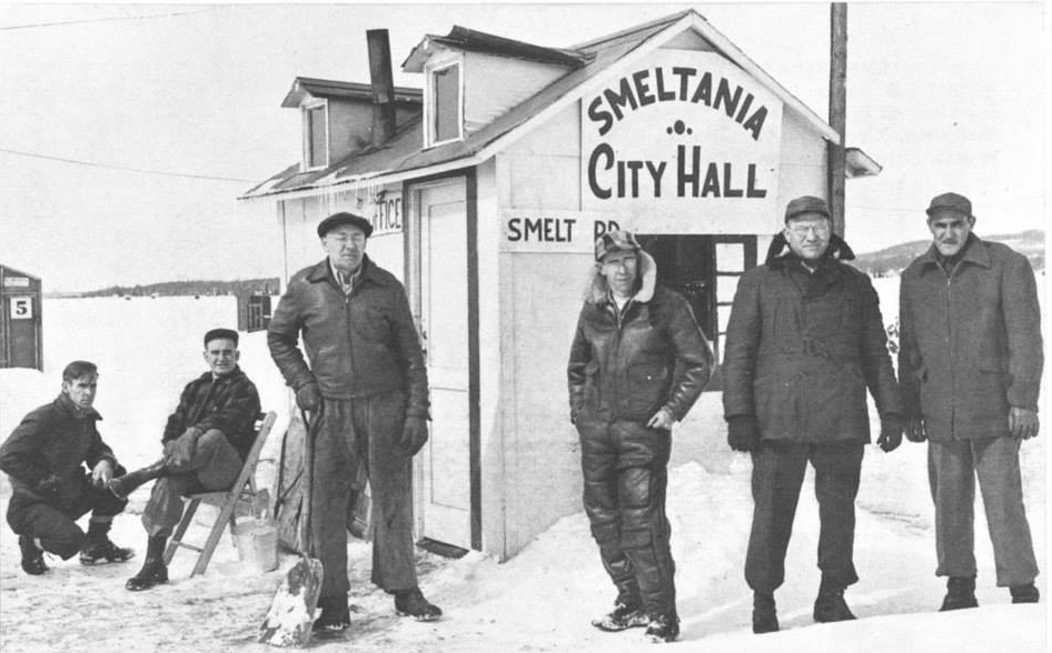 Lake Charlevoix's city on ice, Smeltania (my great grandpa Harry is pictured on the right).