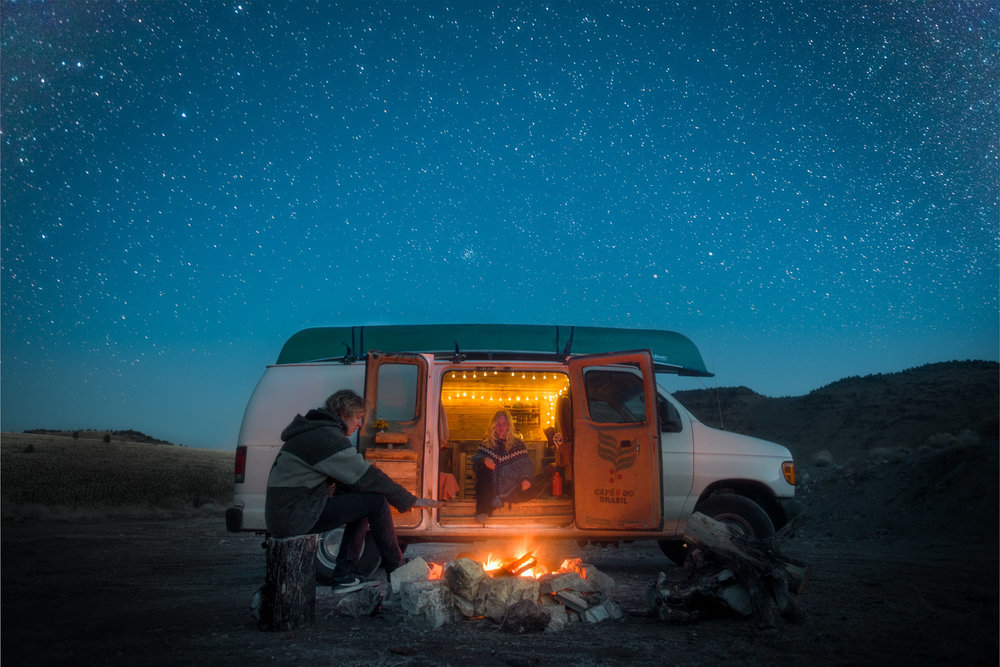 Campfires and stars are definitely an upside of vanlife, just don't be like me and forget the marshmallows…
