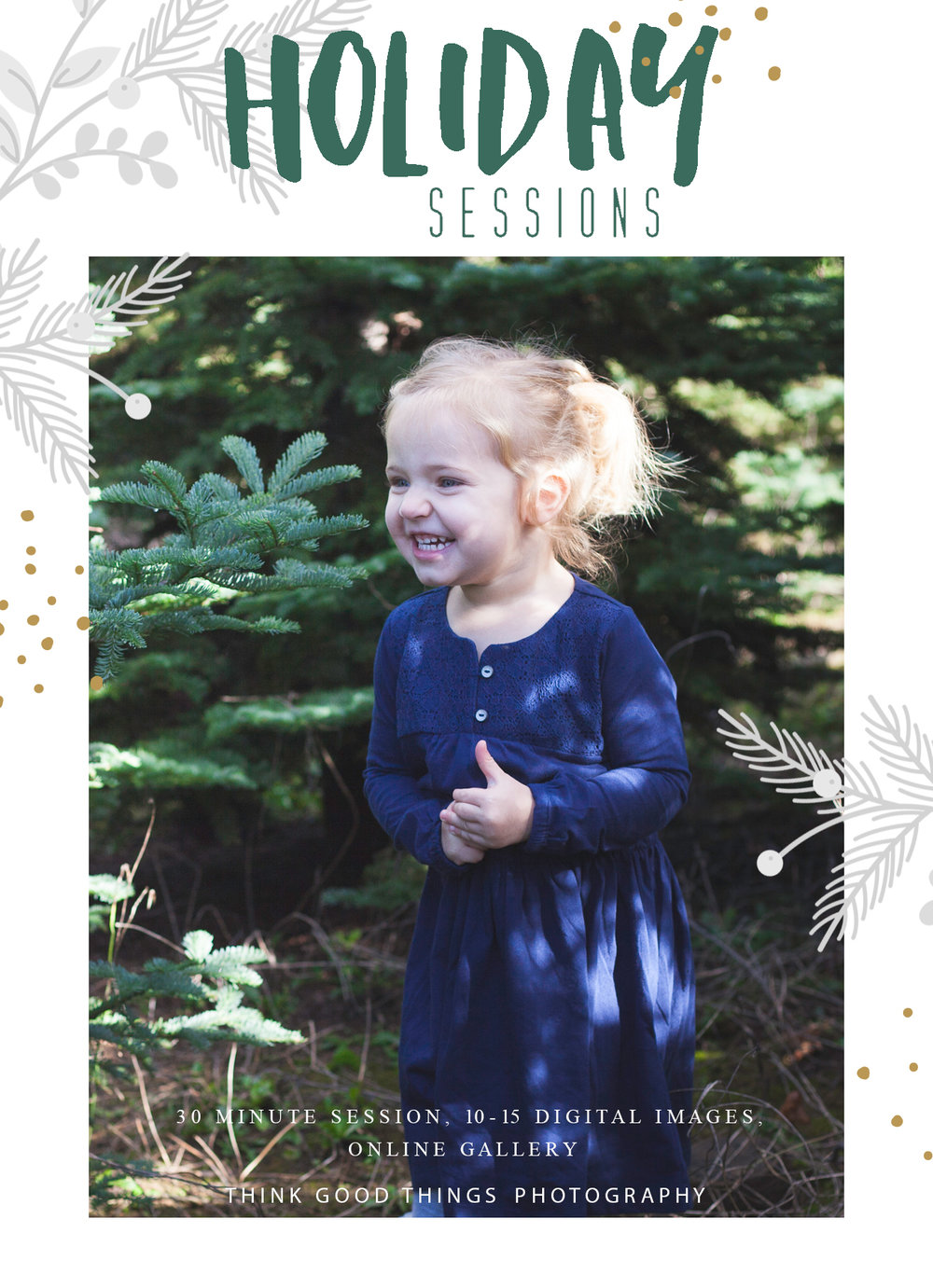 Outdoor Family Photos OR just the kids -  30 minute shoot, 10 digital images with option to add greeting cards at a discounted price. $100 total, with a deposit of $40 due at booking.  December 10th Time Slots Available  10:00am 10:45am 11:30am 12:15pm  1:00pm 1:45pm 2:30pm 3:15pm 4:00pm 4:45pm  Can also combine with Awkward Family Photos offer for $150!  Outdoor location TBD - near Silverton